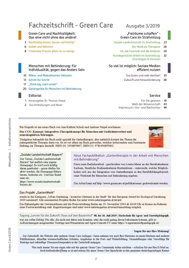 Herbstausgabe 3/2019 Inhaltsverzeichnis