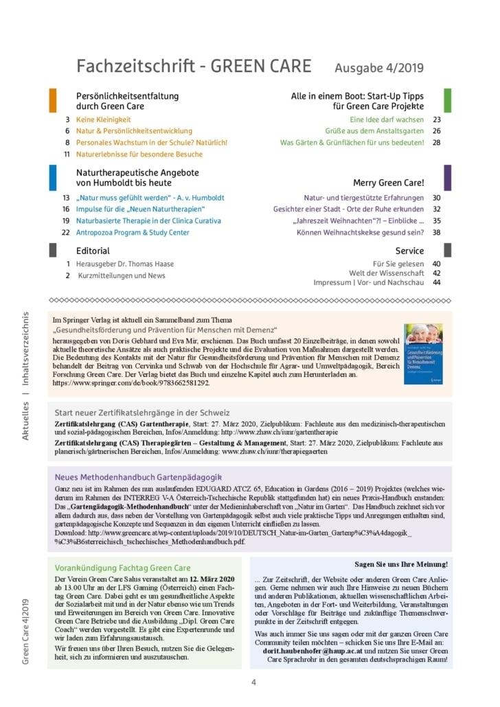 Winterausgabe 4/2019 Inhaltsverzeichnis