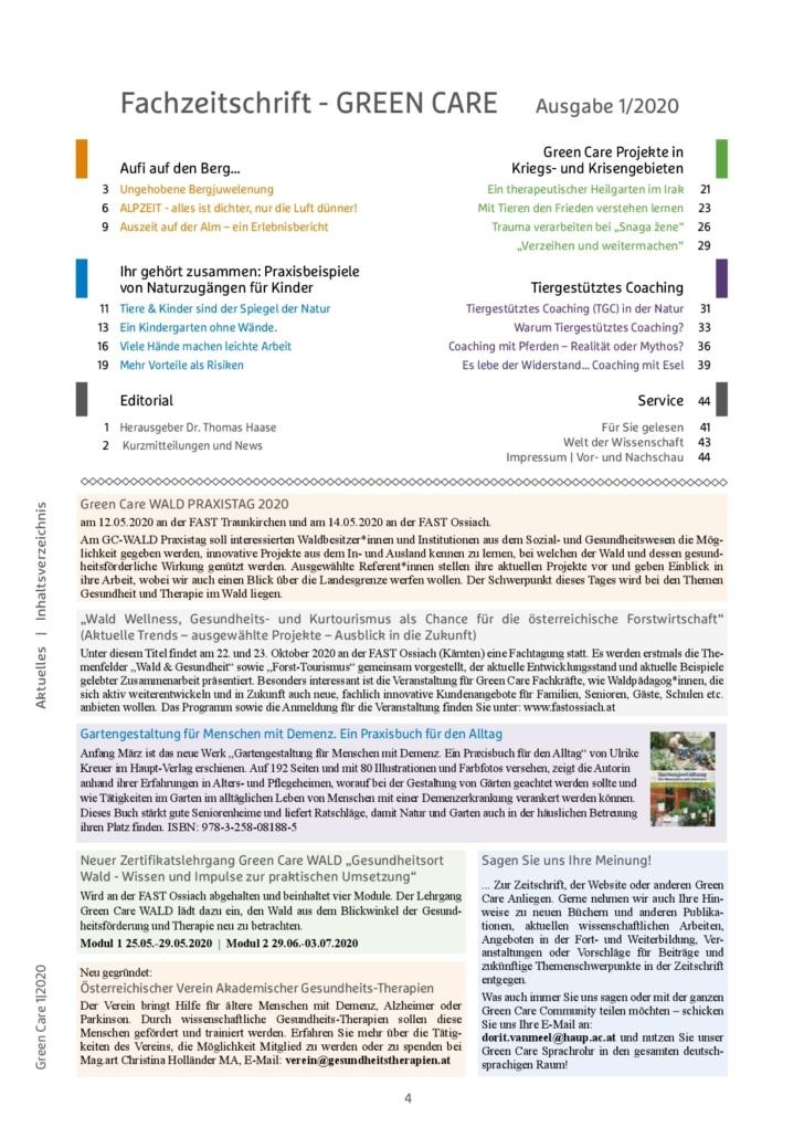 Frühlingsausgabe 1/2020 Inhaltsverzeichnis
