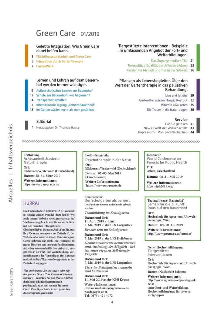 Frühlingsausgabe 2019 Inhaltsverzeichnis