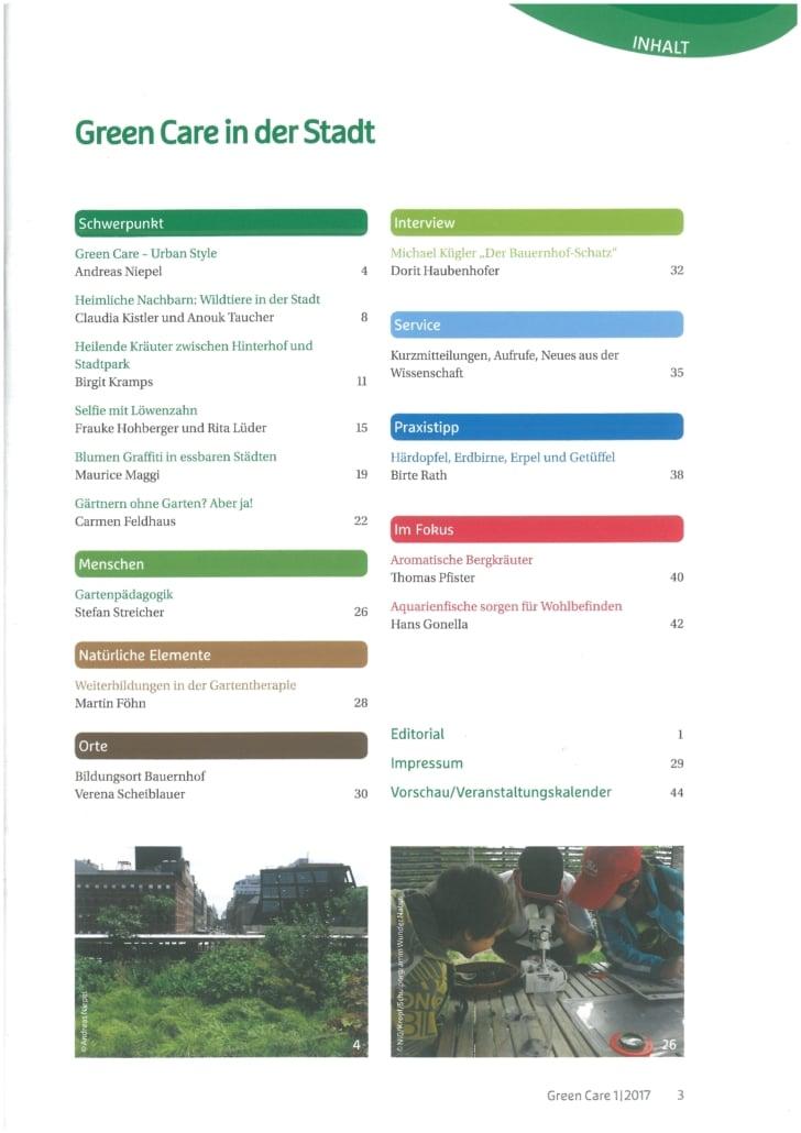 Green Care in der Stadt – Ausgabe 1/2017 Inhaltsverzeichnis