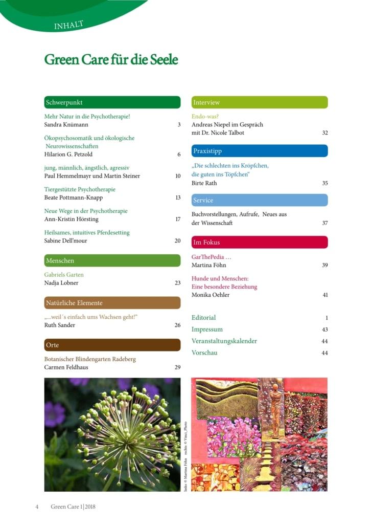 Green Care für die Seele – Ausgabe 1/2018 Inhaltsverzeichnis