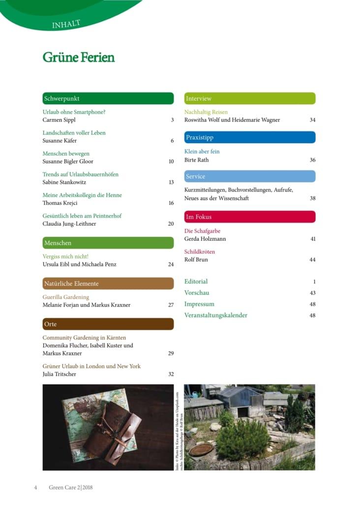 Grüne Ferien – Ausgabe 2/2018 Inhaltsverzeichnis