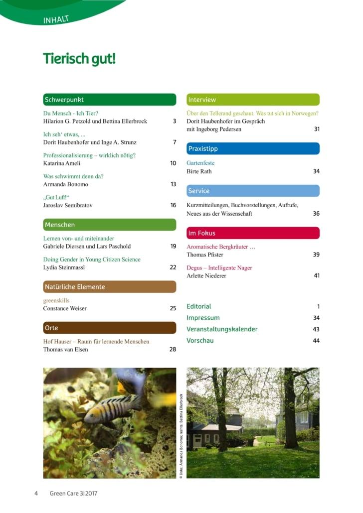 Tierisch gut! – Ausgabe 3/2017 Inhaltsverzeichnis