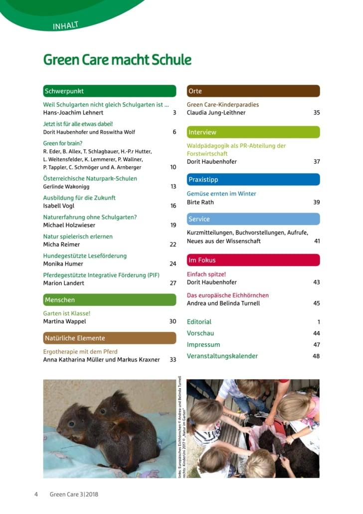 Green Care macht Schule – Ausgabe 3/2018 Inhaltsverzeichnis