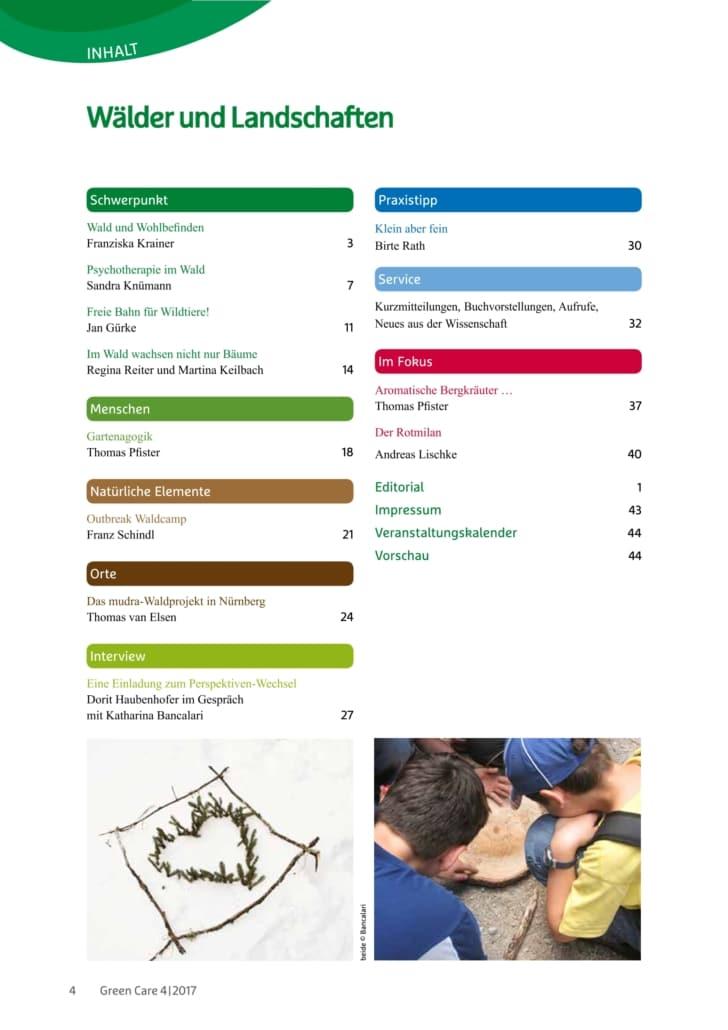Wälder und Landschaften – Ausgabe 4/2017 Inhaltsverzeichnis