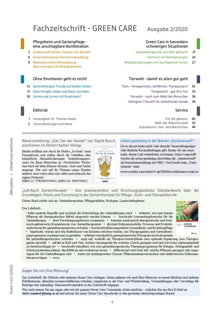 Sommerausgabe 2/2020 Inhaltsverzeichnis
