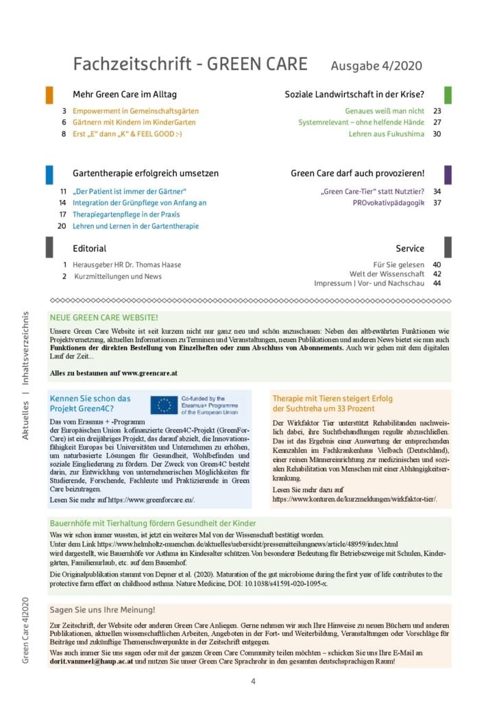 Winterausgabe 4/2020 Inhaltsverzeichnis