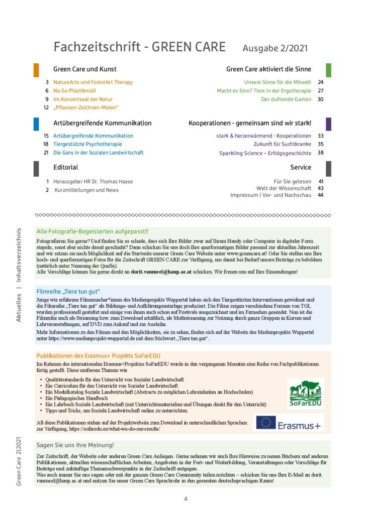 Sommerausgabe 2/2021 Inhaltsverzeichnis